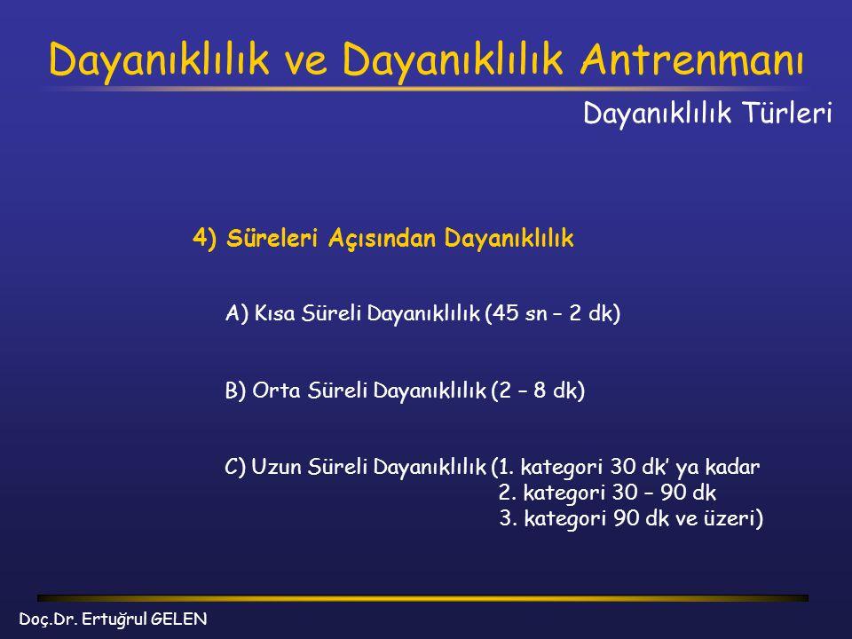 Dayanıklılık ve Dayanıklılık Antrenmanı Doç.Dr. Ertuğrul GELEN 4) Süreleri Açısından Dayanıklılık A) Kısa Süreli Dayanıklılık (45 sn – 2 dk) B) Orta S