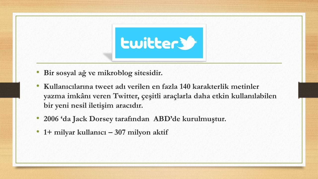 Bir sosyal ağ ve mikroblog sitesidir. Kullanıcılarına tweet adı verilen en fazla 140 karakterlik metinler yazma imkânı veren Twitter, çeşitli araçlarl