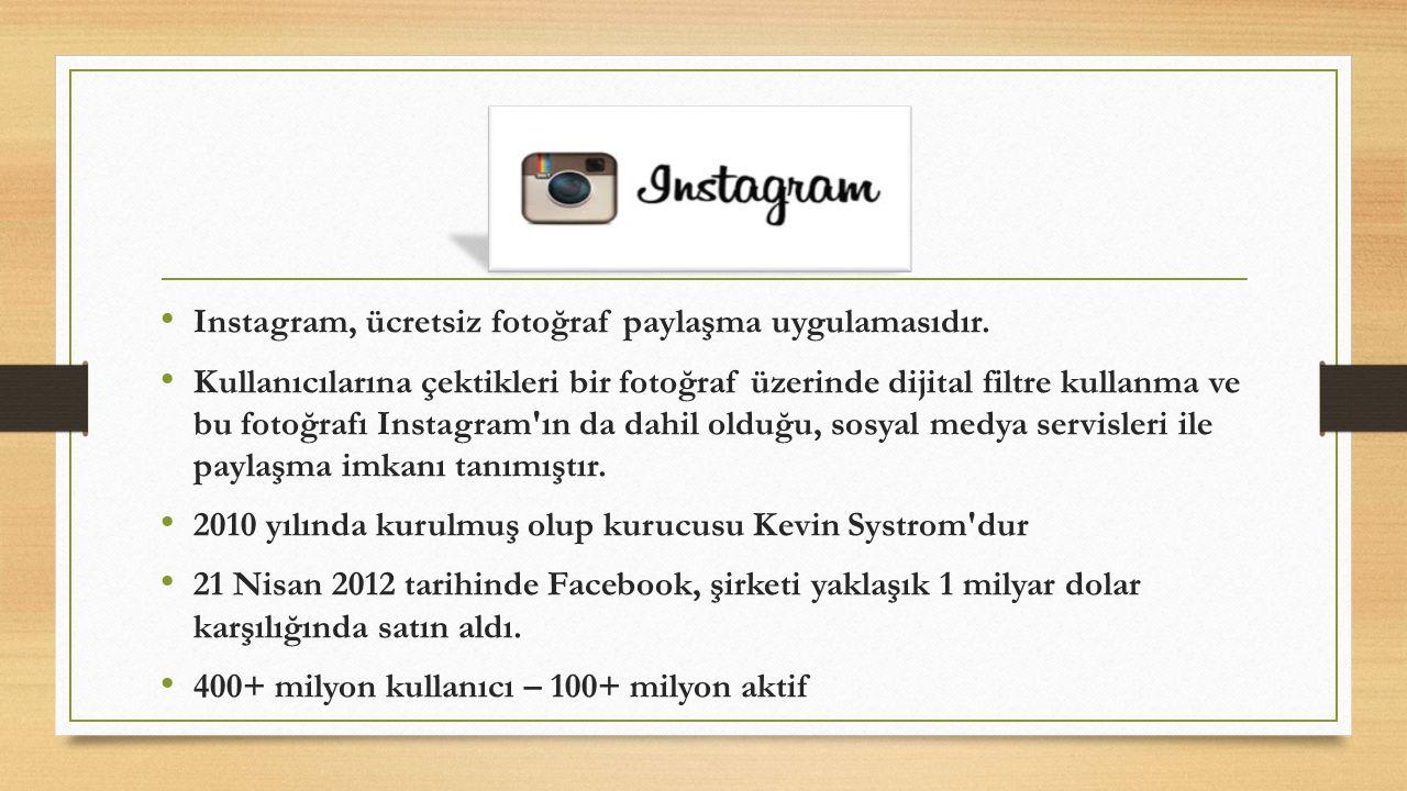 Instagram, ücretsiz fotoğraf paylaşma uygulamasıdır. Kullanıcılarına çektikleri bir fotoğraf üzerinde dijital filtre kullanma ve bu fotoğrafı Instagra