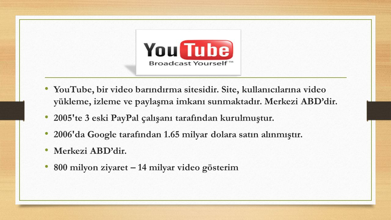 YouTube, bir video barındırma sitesidir. Site, kullanıcılarına video yükleme, izleme ve paylaşma imkanı sunmaktadır. Merkezi ABD'dir. 2005'te 3 eski P