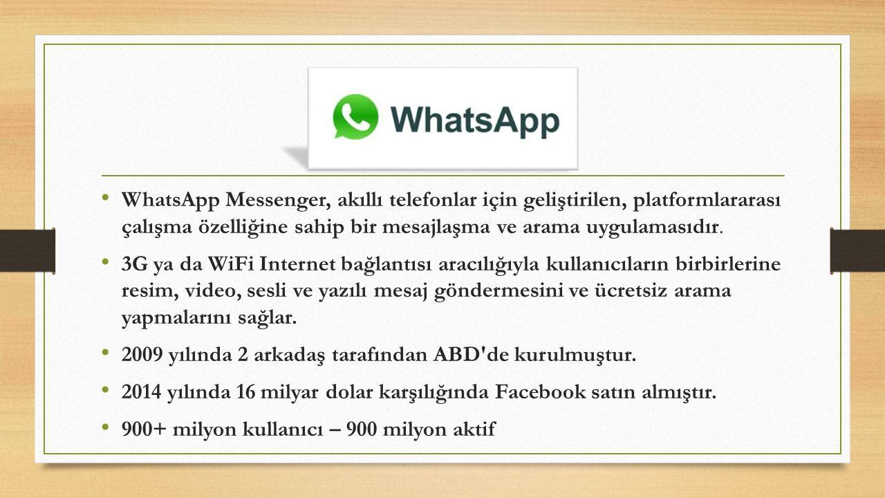 WhatsApp Messenger, akıllı telefonlar için geliştirilen, platformlararası çalışma özelliğine sahip bir mesajlaşma ve arama uygulamasıdır. 3G ya da WiF