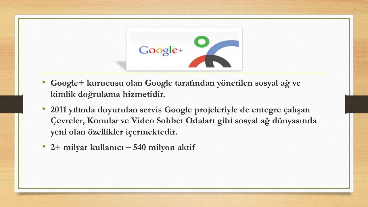 Google+ kurucusu olan Google tarafından yönetilen sosyal ağ ve kimlik doğrulama hizmetidir. 2011 yılında duyurulan servis Google projeleriyle de enteg