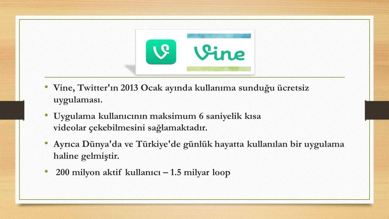 Vine, Twitter'ın 2013 Ocak ayında kullanıma sunduğu ücretsiz uygulaması. Uygulama kullanıcının maksimum 6 saniyelik kısa videolar çekebilmesini sağlam