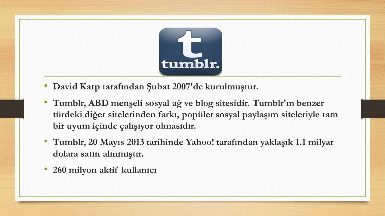 David Karp tarafından Şubat 2007'de kurulmuştur. Tumblr, ABD menşeli sosyal ağ ve blog sitesidir. Tumblr'ın benzer türdeki diğer sitelerinden farkı, p