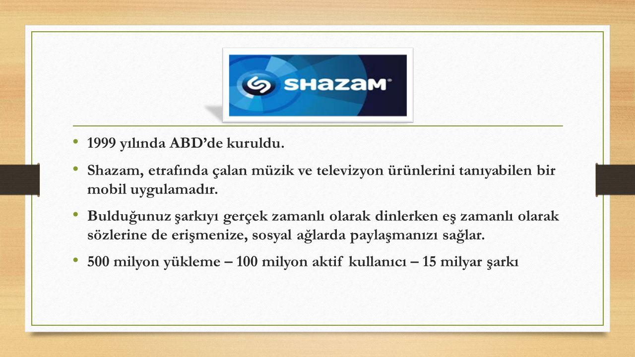 1999 yılında ABD'de kuruldu. Shazam, etrafında çalan müzik ve televizyon ürünlerini tanıyabilen bir mobil uygulamadır. Bulduğunuz şarkıyı gerçek zaman