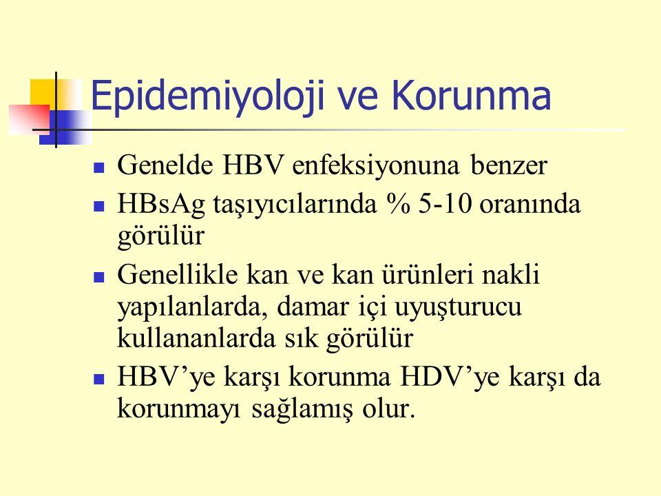 Epidemiyoloji ve Korunma Genelde HBV enfeksiyonuna benzer HBsAg taşıyıcılarında % 5-10 oranında görülür Genellikle kan ve kan ürünleri nakli yapılanlarda, damar içi uyuşturucu kullananlarda sık görülür HBV'ye karşı korunma HDV'ye karşı da korunmayı sağlamış olur.