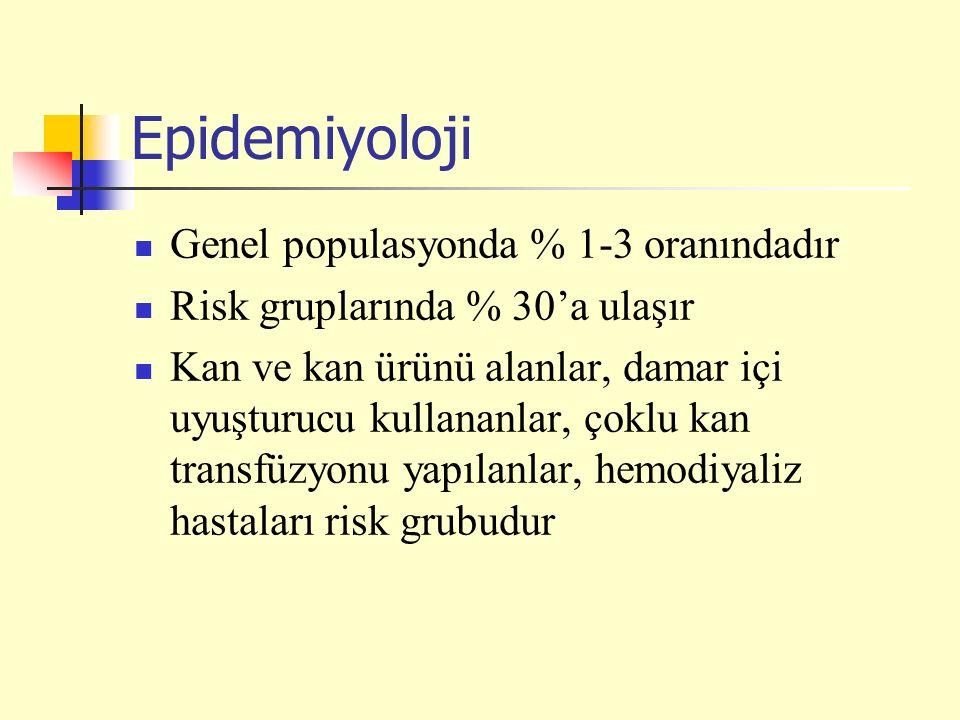 Epidemiyoloji Genel populasyonda % 1-3 oranındadır Risk gruplarında % 30'a ulaşır Kan ve kan ürünü alanlar, damar içi uyuşturucu kullananlar, çoklu kan transfüzyonu yapılanlar, hemodiyaliz hastaları risk grubudur