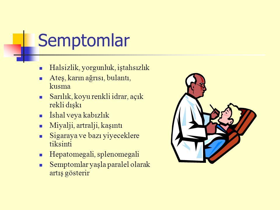 Semptomlar Halsizlik, yorgunluk, iştahsızlık Ateş, karın ağrısı, bulantı, kusma Sarılık, koyu renkli idrar, açık rekli dışkı İshal veya kabızlık Miyalji, artralji, kaşıntı Sigaraya ve bazı yiyeceklere tiksinti Hepatomegali, splenomegali Semptomlar yaşla paralel olarak artış gösterir
