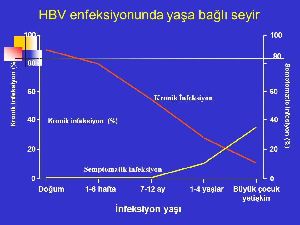 Semptomatik infeksiyon Kronik İnfeksiyon İnfeksiyon yaşı Kronik infeksiyon (%) Semptomatic infesiyon (%) Doğum 1-6 hafta 7-12 ay 1-4 yaşlar Büyük çocuk yetişkin 0 20 40 60 80 100 80 60 40 20 0 HBV enfeksiyonunda yaşa bağlı seyir Kronik infeksiyon (%)