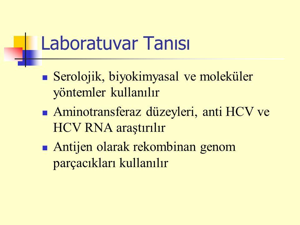 Laboratuvar Tanısı Serolojik, biyokimyasal ve moleküler yöntemler kullanılır Aminotransferaz düzeyleri, anti HCV ve HCV RNA araştırılır Antijen olarak rekombinan genom parçacıkları kullanılır