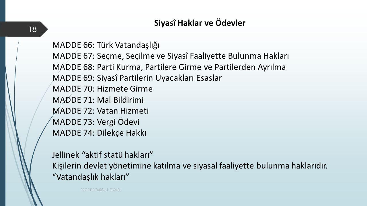 PROF.DR.TURGUT GÖKSU 18 Siyasî Haklar ve Ödevler MADDE 66: Türk Vatandaşlığı MADDE 67: Seçme, Seçilme ve Siyasî Faaliyette Bulunma Hakları MADDE 68: Parti Kurma, Partilere Girme ve Partilerden Ayrılma MADDE 69: Siyasî Partilerin Uyacakları Esaslar MADDE 70: Hizmete Girme MADDE 71: Mal Bildirimi MADDE 72: Vatan Hizmeti MADDE 73: Vergi Ödevi MADDE 74: Dilekçe Hakkı Jellinek aktif statü hakları Kişilerin devlet yönetimine katılma ve siyasal faaliyette bulunma haklarıdır.