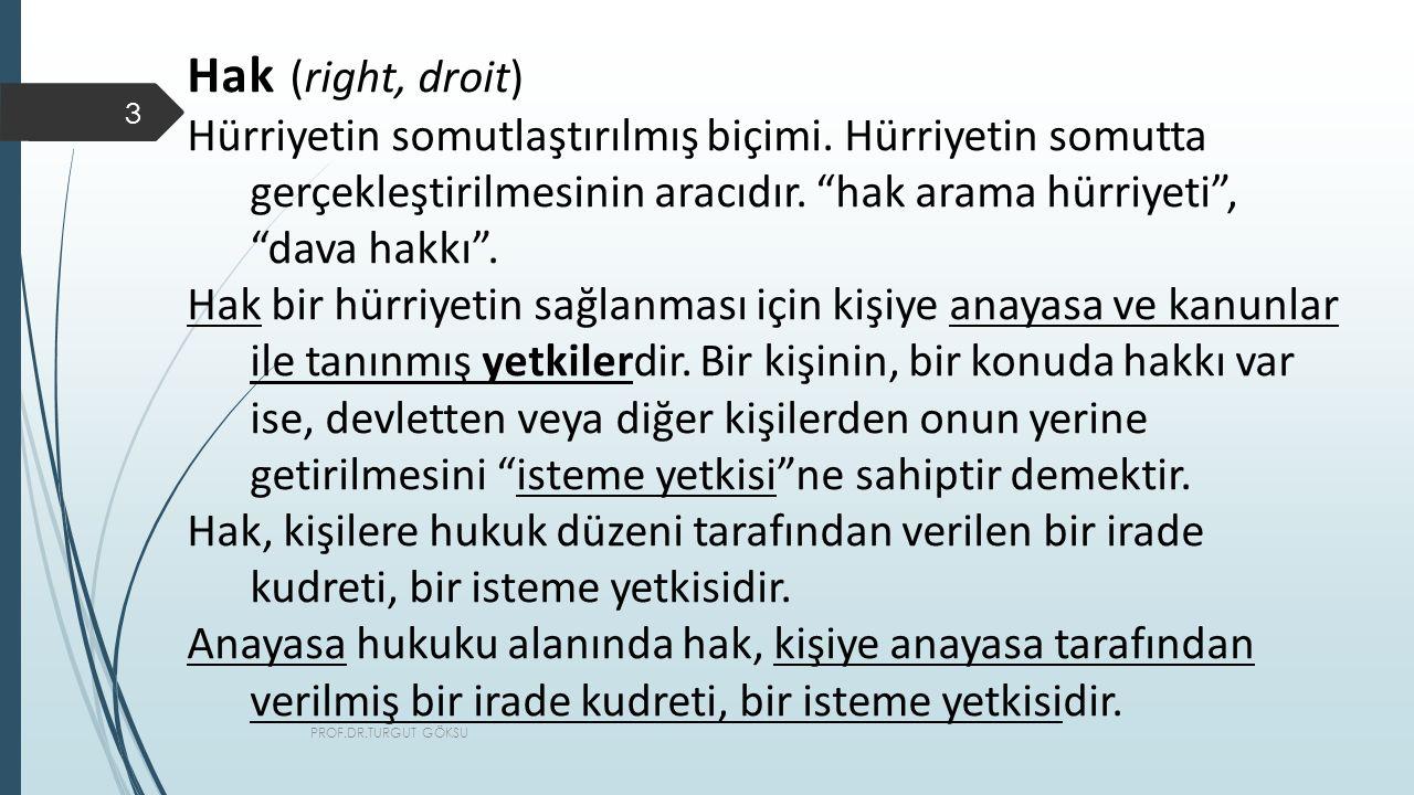 PROF.DR.TURGUT GÖKSU 3 Hak (right, droit) Hürriyetin somutlaştırılmış biçimi.