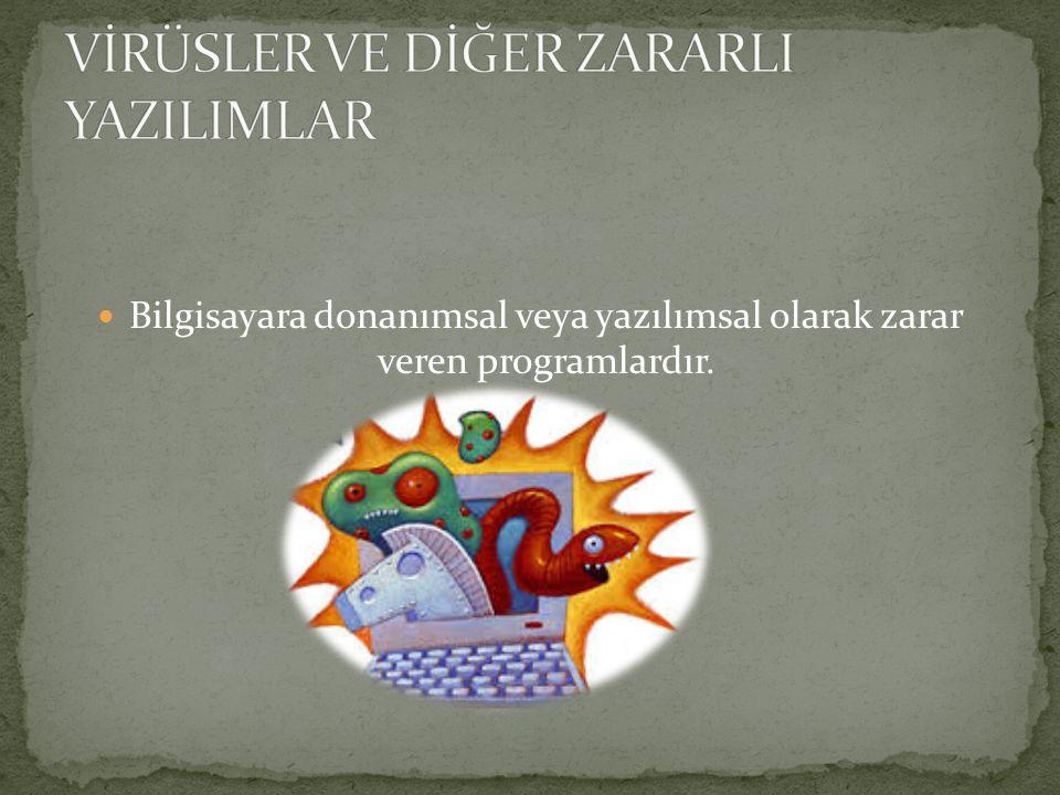 VİRÜS TRUVA ATI (TROJAN) SOLUCAN (WORM) ADWARE CASUS YAZILIM (SPYWARE) SPAM TRACKING COOKIE