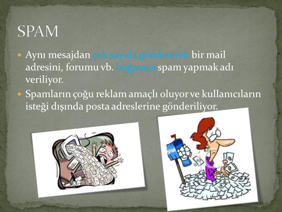 Aynı mesajdan çok sayıda göndererek bir mail adresini, forumu vb. boğmaya spam yapmak adı veriliyor. Spamların çoğu reklam amaçlı oluyor ve kullanıcıl