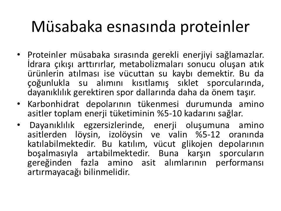 Müsabaka esnasında proteinler Proteinler müsabaka sırasında gerekli enerjiyi sağlamazlar. İdrara çıkışı arttırırlar, metabolizmaları sonucu oluşan atı
