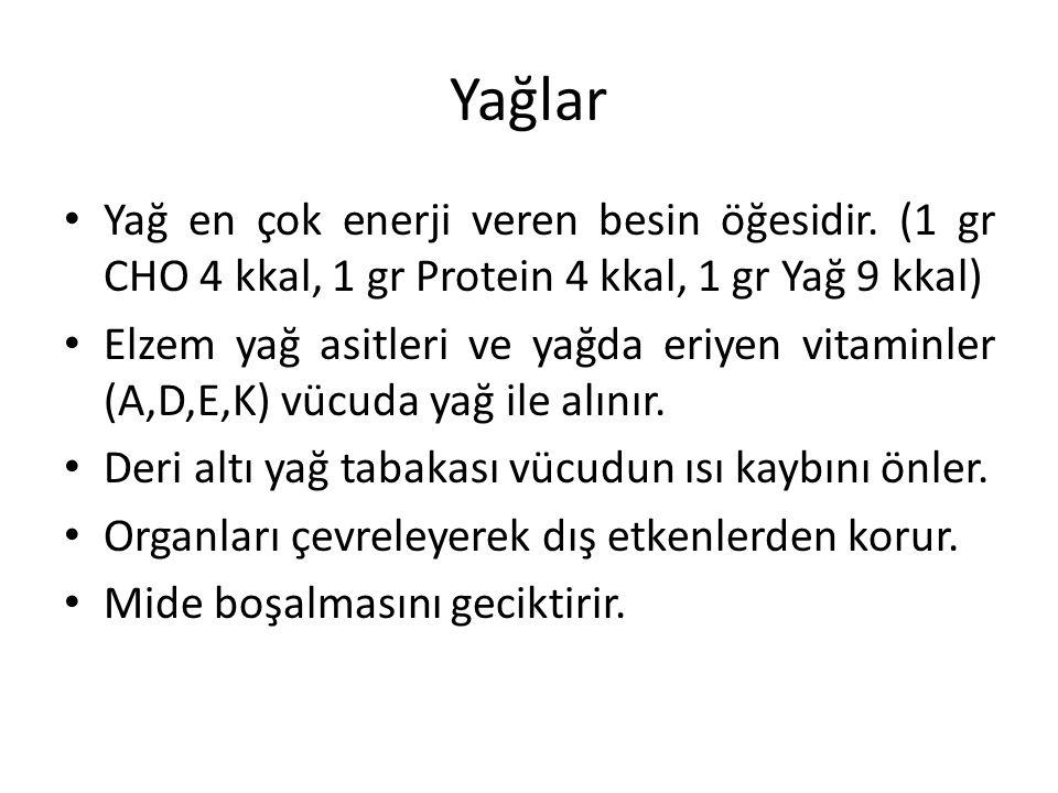 Yağlar Yağ en çok enerji veren besin öğesidir. (1 gr CHO 4 kkal, 1 gr Protein 4 kkal, 1 gr Yağ 9 kkal) Elzem yağ asitleri ve yağda eriyen vitaminler (