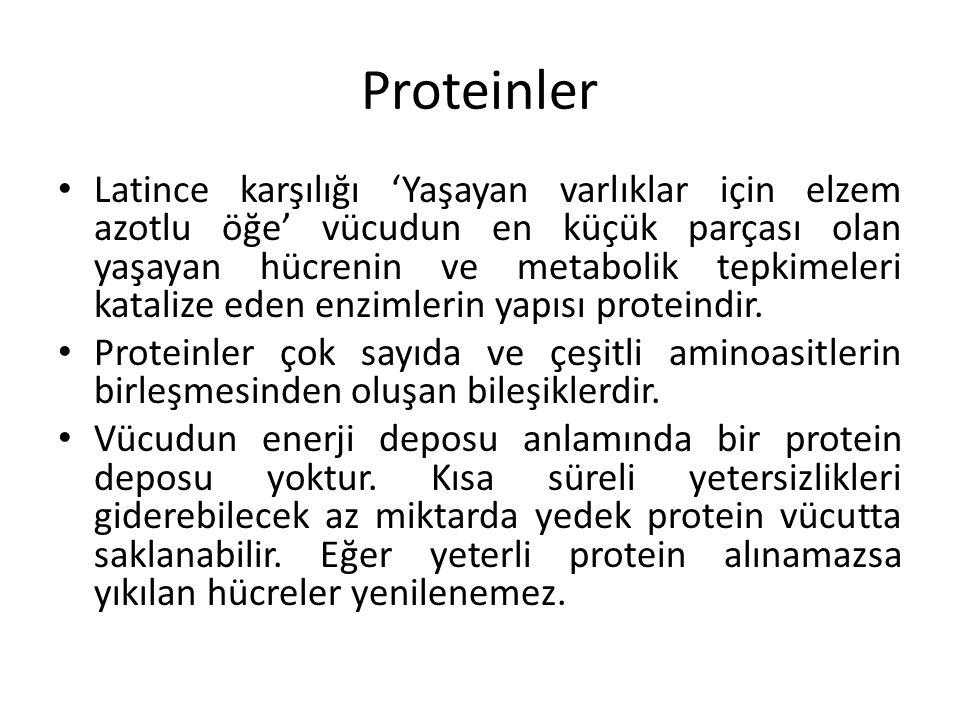 Proteinler Latince karşılığı 'Yaşayan varlıklar için elzem azotlu öğe' vücudun en küçük parçası olan yaşayan hücrenin ve metabolik tepkimeleri kataliz