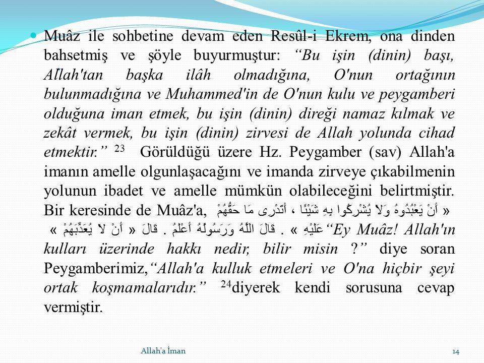 """. Muâz ile sohbetine devam eden Resûl-i Ekrem, ona dinden bahsetmiş ve şöyle buyurmuştur: """"Bu işin (dinin) başı, Allah'tan başka ilâh olmadığına, O'nu"""
