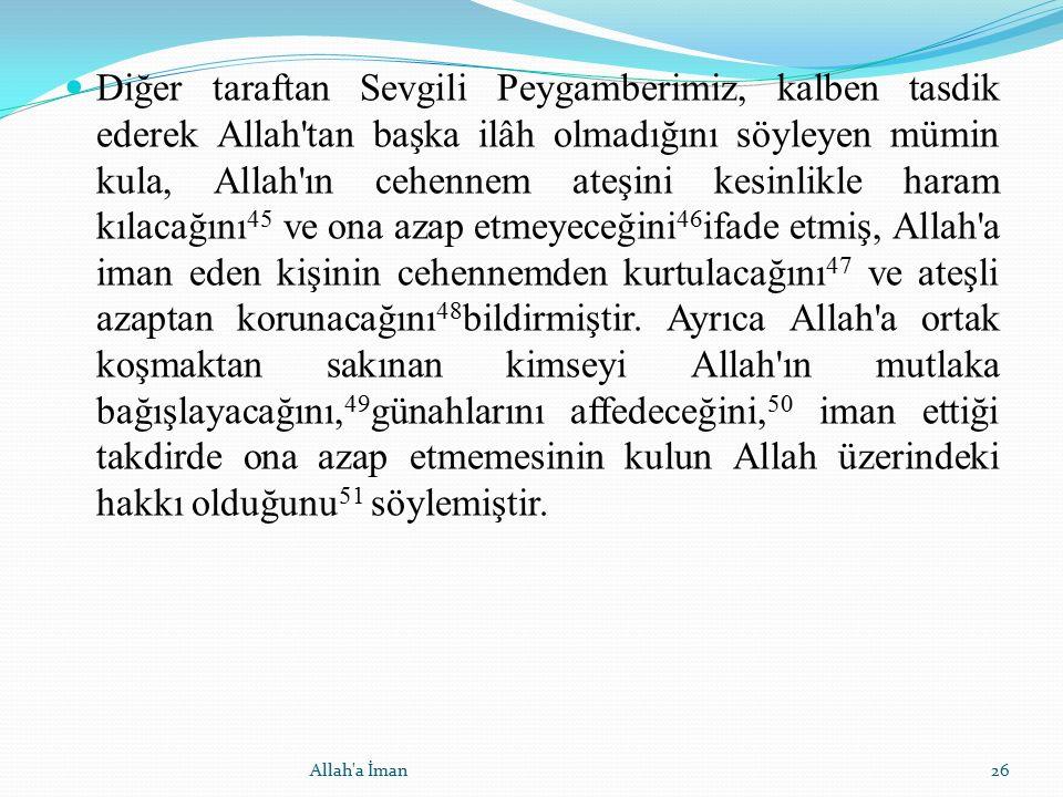 Diğer taraftan Sevgili Peygamberimiz, kalben tasdik ederek Allah'tan başka ilâh olmadığını söyleyen mümin kula, Allah'ın cehennem ateşini kesinlikle h