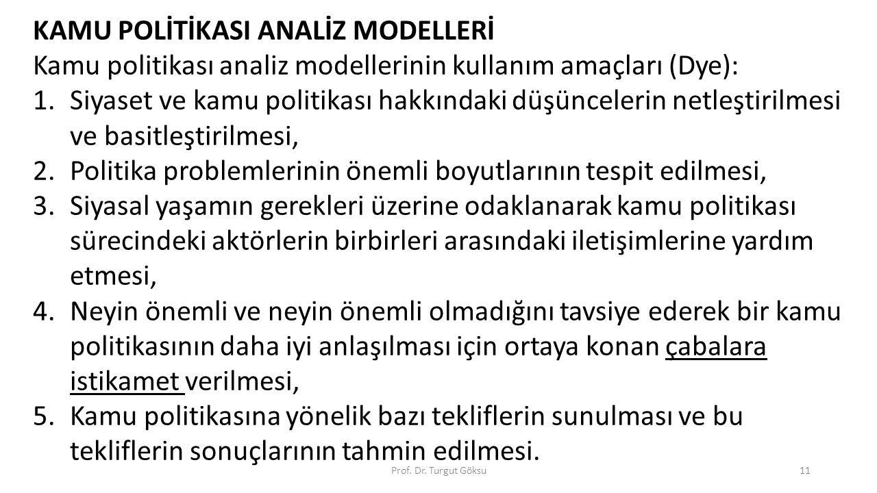 Prof. Dr. Turgut Göksu11 KAMU POLİTİKASI ANALİZ MODELLERİ Kamu politikası analiz modellerinin kullanım amaçları (Dye): 1.Siyaset ve kamu politikası ha