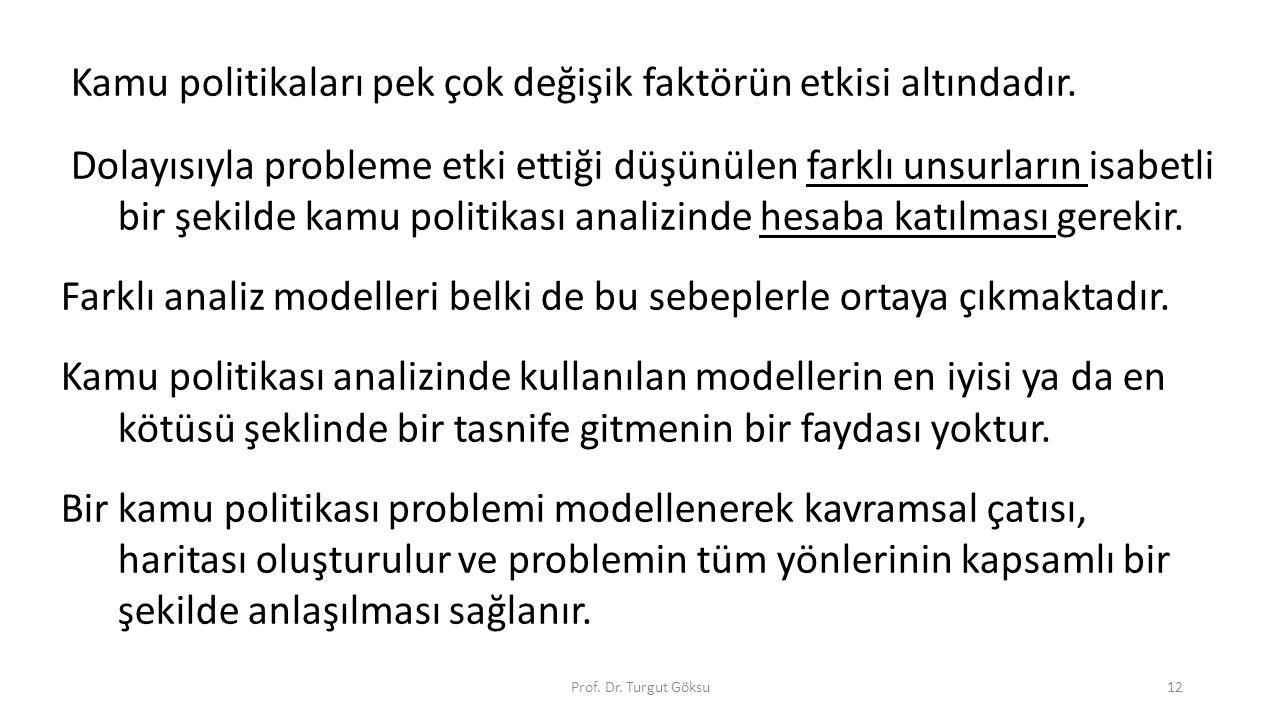 Prof. Dr. Turgut Göksu12 Kamu politikaları pek çok değişik faktörün etkisi altındadır. Dolayısıyla probleme etki ettiği düşünülen farklı unsurların is