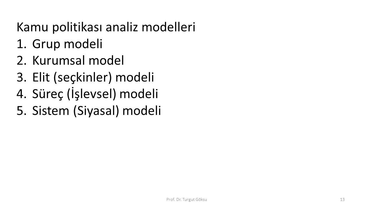 Prof. Dr. Turgut Göksu13 Kamu politikası analiz modelleri 1.Grup modeli 2.Kurumsal model 3.Elit (seçkinler) modeli 4.Süreç (İşlevsel) modeli 5.Sistem