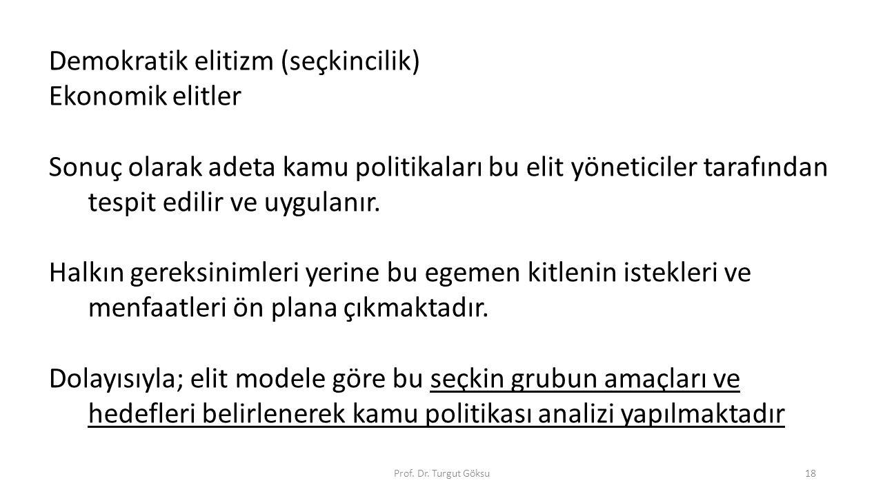 Prof. Dr. Turgut Göksu18 Demokratik elitizm (seçkincilik) Ekonomik elitler Sonuç olarak adeta kamu politikaları bu elit yöneticiler tarafından tespit