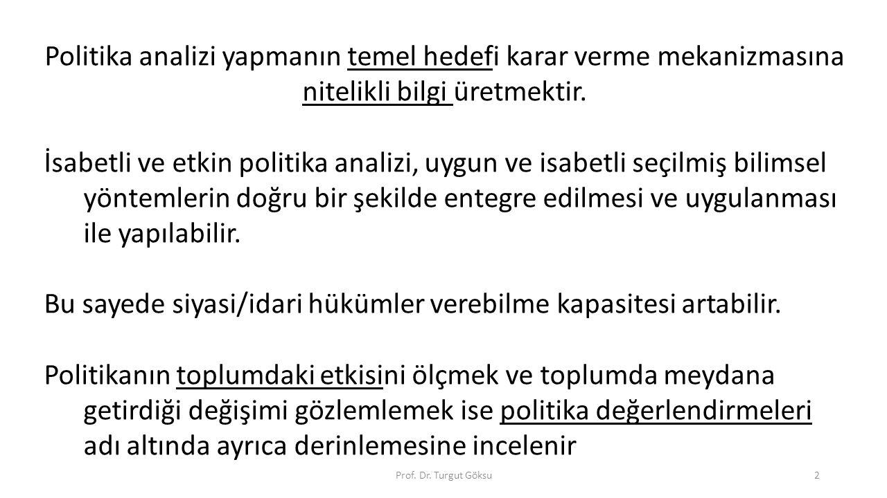 Prof. Dr. Turgut Göksu2 Politika analizi yapmanın temel hedefi karar verme mekanizmasına nitelikli bilgi üretmektir. İsabetli ve etkin politika analiz