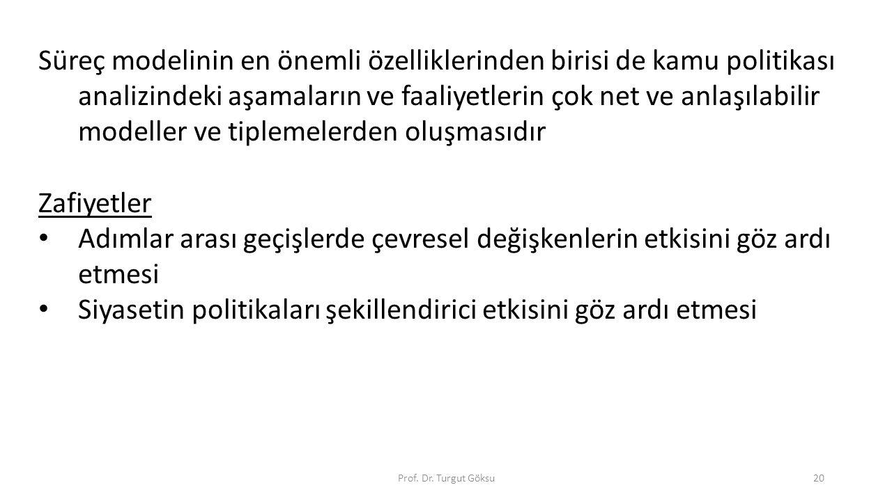 Prof. Dr. Turgut Göksu20 Süreç modelinin en önemli özelliklerinden birisi de kamu politikası analizindeki aşamaların ve faaliyetlerin çok net ve anlaş