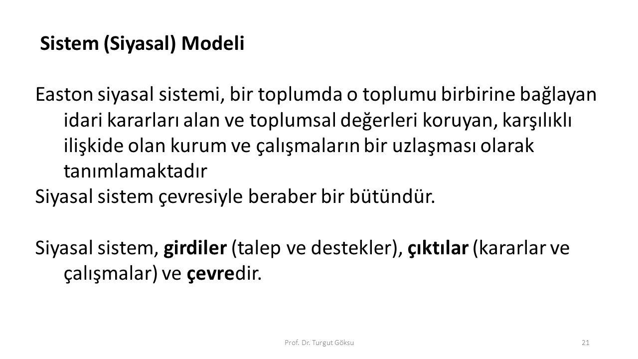 Prof. Dr. Turgut Göksu21 Sistem (Siyasal) Modeli Easton siyasal sistemi, bir toplumda o toplumu birbirine bağlayan idari kararları alan ve toplumsal d