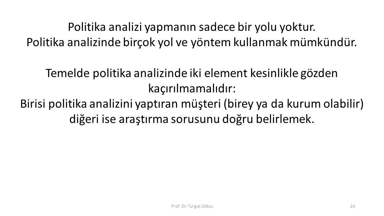 Prof. Dr. Turgut Göksu24 Politika analizi yapmanın sadece bir yolu yoktur. Politika analizinde birçok yol ve yöntem kullanmak mümkündür. Temelde polit