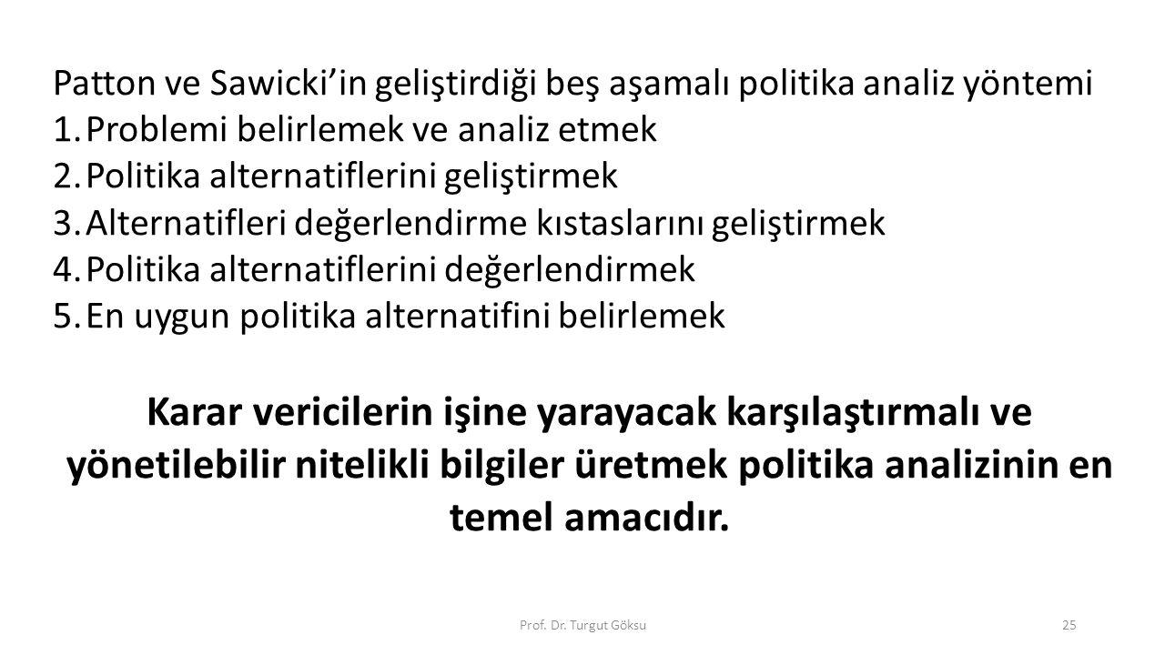 Prof. Dr. Turgut Göksu25 Patton ve Sawicki'in geliştirdiği beş aşamalı politika analiz yöntemi 1.Problemi belirlemek ve analiz etmek 2.Politika altern