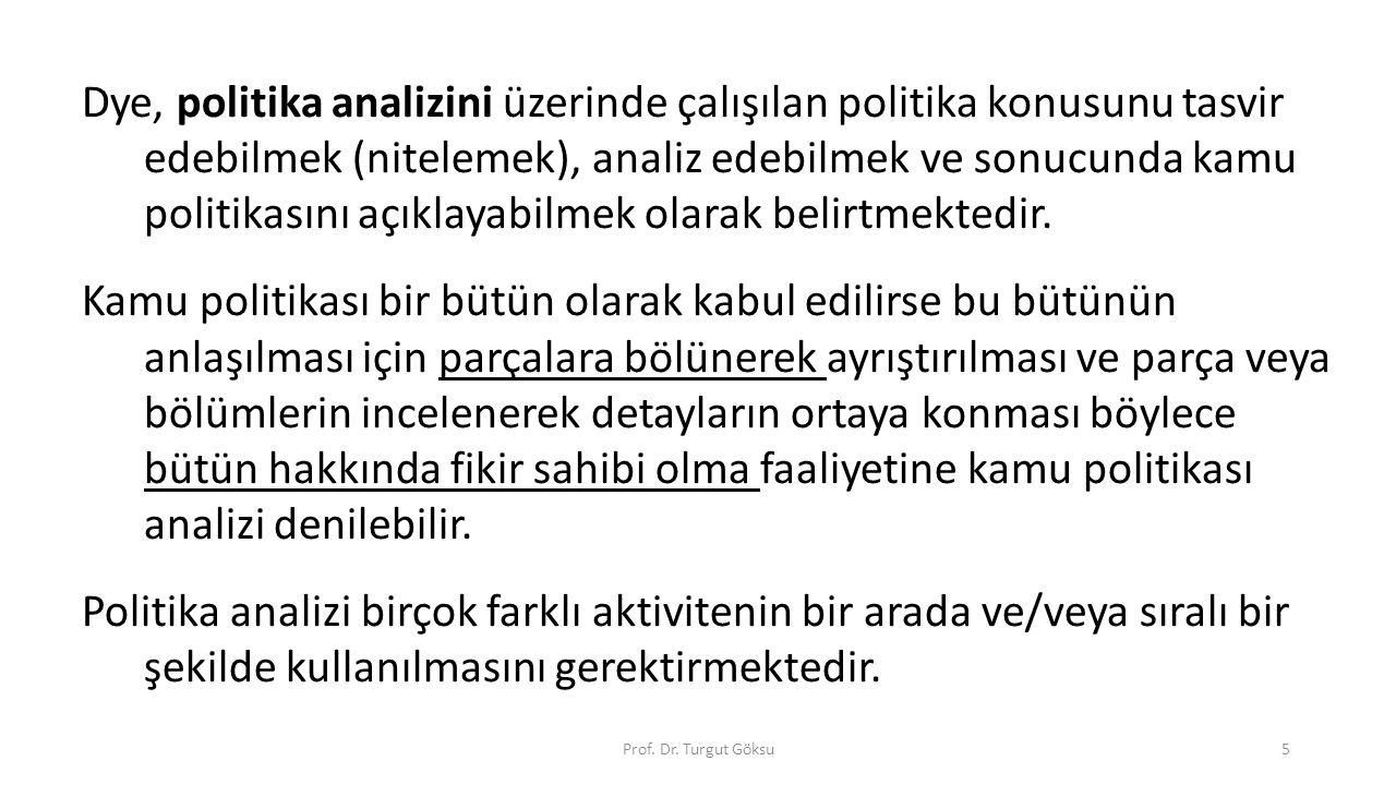 Prof. Dr. Turgut Göksu5 Dye, politika analizini üzerinde çalışılan politika konusunu tasvir edebilmek (nitelemek), analiz edebilmek ve sonucunda kamu