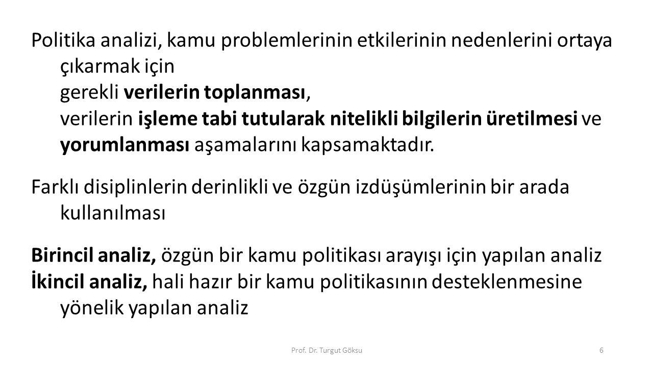 Prof. Dr. Turgut Göksu6 Politika analizi, kamu problemlerinin etkilerinin nedenlerini ortaya çıkarmak için gerekli verilerin toplanması, verilerin işl
