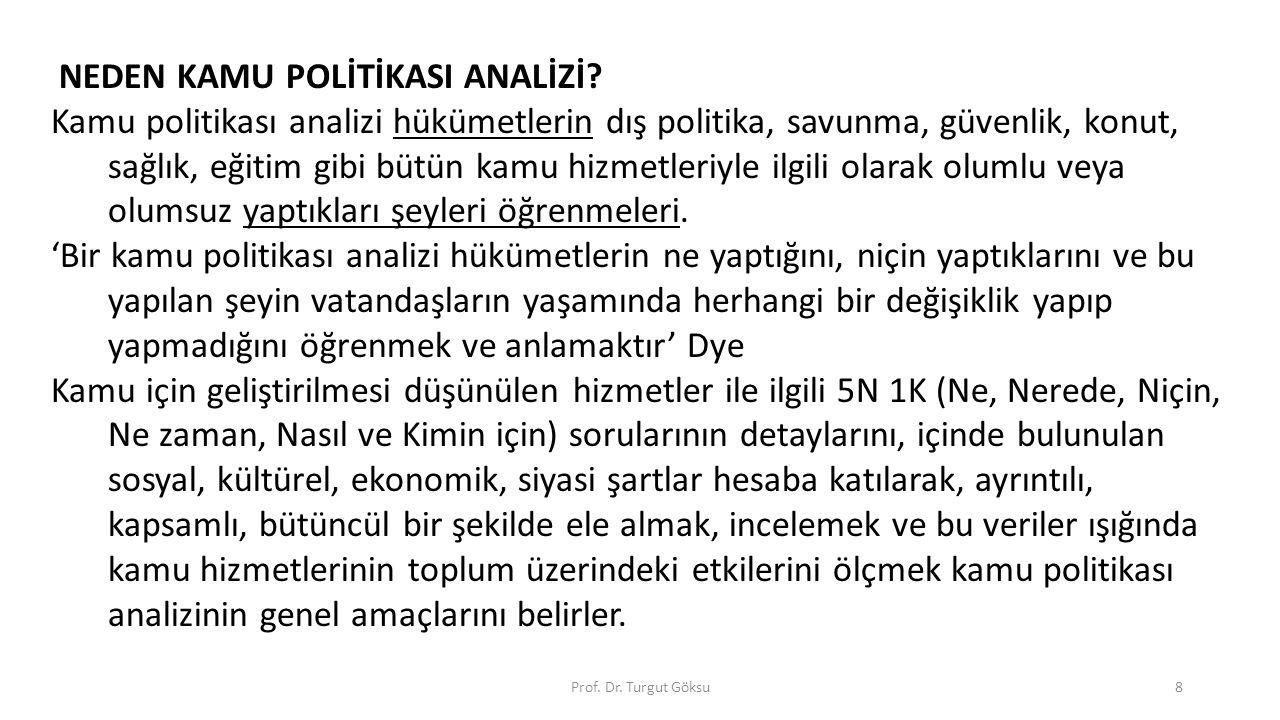 Prof. Dr. Turgut Göksu8 NEDEN KAMU POLİTİKASI ANALİZİ? Kamu politikası analizi hükümetlerin dış politika, savunma, güvenlik, konut, sağlık, eğitim gib