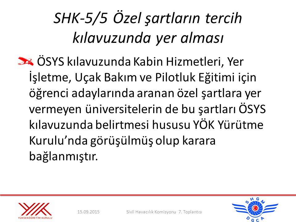 SHK-5/5Özel şartların tercih kılavuzunda yer alması ÖSYS kılavuzunda Kabin Hizmetleri, Yer İşletme, Uçak Bakım ve Pilotluk Eğitimi için öğrenci adayla