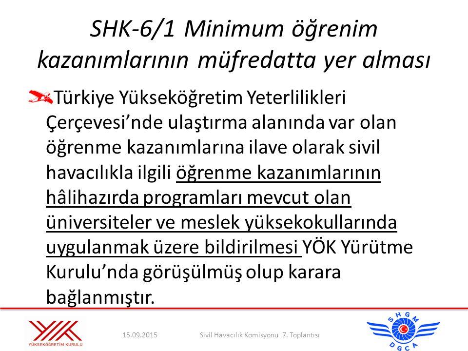 SHK-6/1Minimum öğrenim kazanımlarının müfredatta yer alması Türkiye Yükseköğretim Yeterlilikleri Çerçevesi'nde ulaştırma alanında var olan öğrenme kaz
