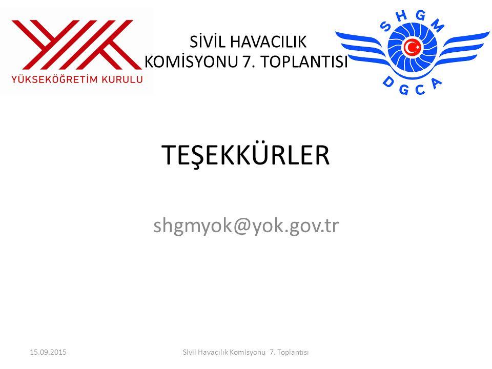 SİVİL HAVACILIK KOMİSYONU 7. TOPLANTISI TEŞEKKÜRLER shgmyok@yok.gov.tr 15.09.2015Sivil Havacılık Komisyonu 7. Toplantısı