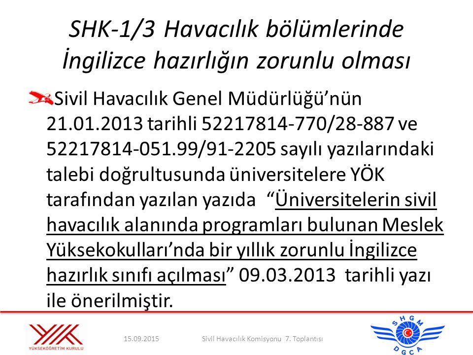 SHK-1/3Havacılık bölümlerinde İngilizce hazırlığın zorunlu olması Sivil Havacılık Genel Müdürlüğü'nün 21.01.2013 tarihli 52217814-770/28-887 ve 522178