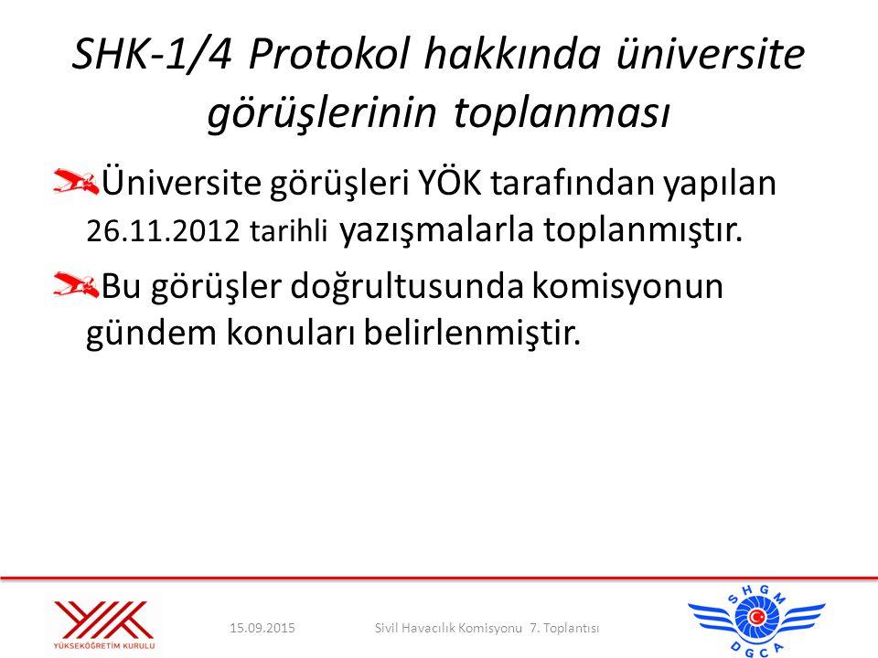 SHK-1/4Protokol hakkında üniversite görüşlerinin toplanması Üniversite görüşleri YÖK tarafından yapılan 26.11.2012 tarihli yazışmalarla toplanmıştır.