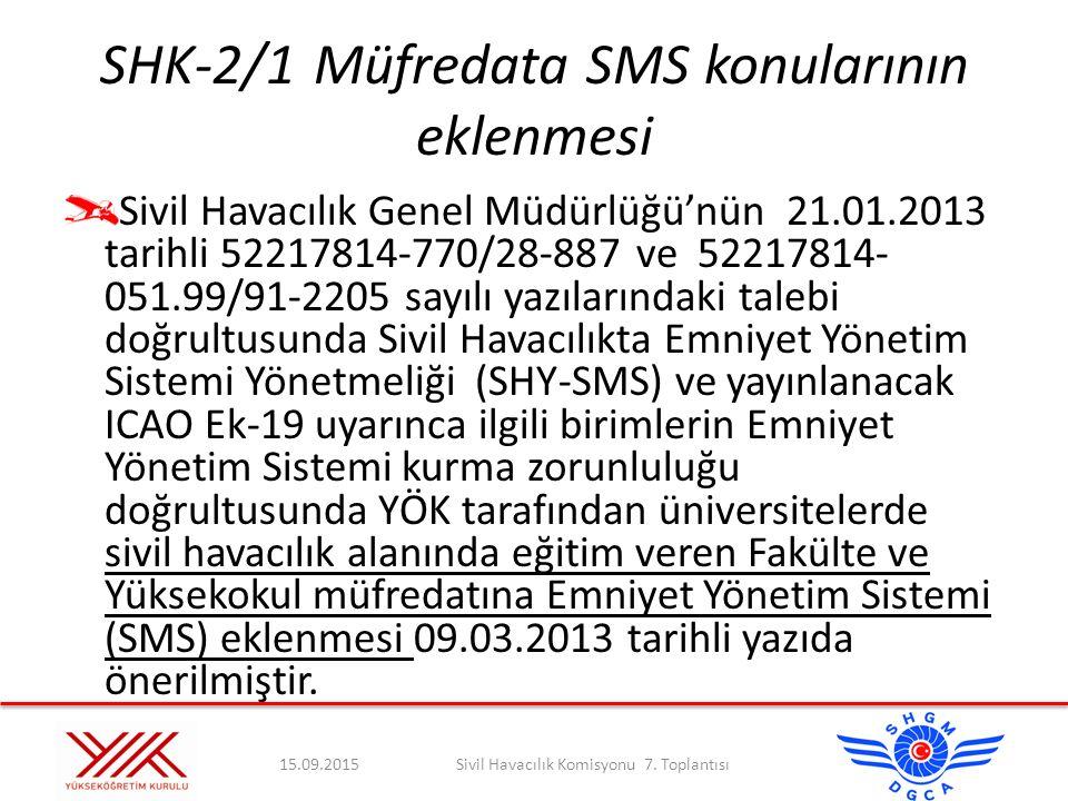 SHK-2/1Müfredata SMS konularının eklenmesi Sivil Havacılık Genel Müdürlüğü'nün 21.01.2013 tarihli 52217814-770/28-887 ve 52217814- 051.99/91-2205 sayı