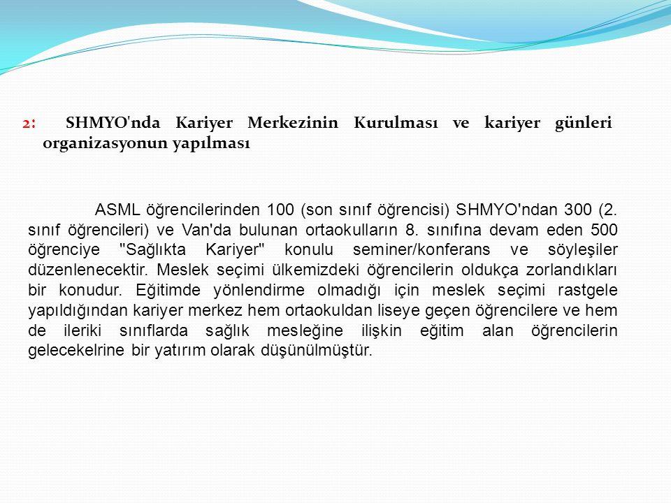 2: SHMYO'nda Kariyer Merkezinin Kurulması ve kariyer günleri organizasyonun yapılması ASML öğrencilerinden 100 (son sınıf öğrencisi) SHMYO'ndan 300 (2