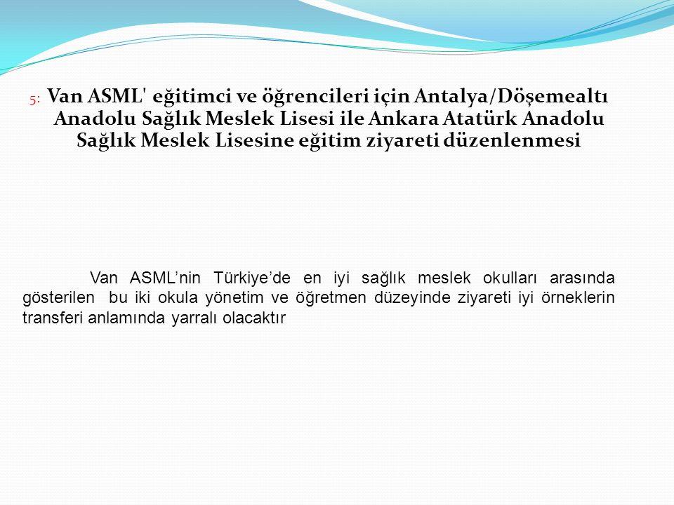 5: Van ASML' eğitimci ve öğrencileri için Antalya/Döşemealtı Anadolu Sağlık Meslek Lisesi ile Ankara Atatürk Anadolu Sağlık Meslek Lisesine eğitim ziy