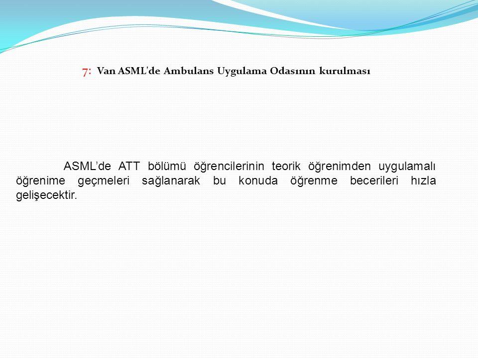 7: Van ASML'de Ambulans Uygulama Odasının kurulması ASML'de ATT bölümü öğrencilerinin teorik öğrenimden uygulamalı öğrenime geçmeleri sağlanarak bu ko