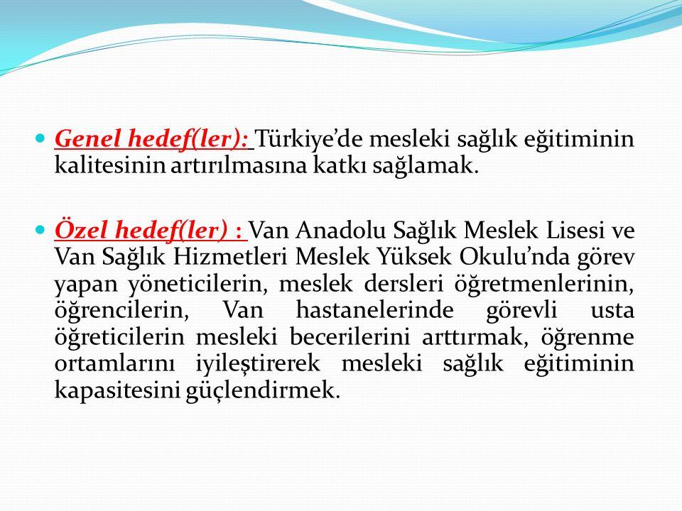 Genel hedef(ler): Türkiye'de mesleki sağlık eğitiminin kalitesinin artırılmasına katkı sağlamak. Özel hedef(ler) : Van Anadolu Sağlık Meslek Lisesi ve