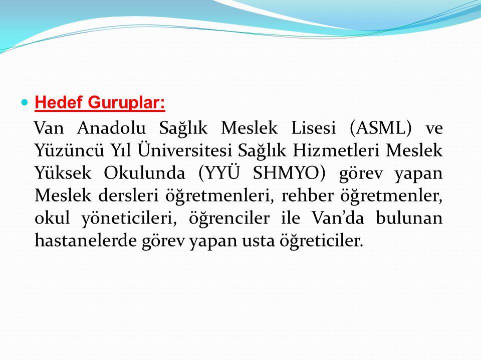 Hedef Guruplar: Van Anadolu Sağlık Meslek Lisesi (ASML) ve Yüzüncü Yıl Üniversitesi Sağlık Hizmetleri Meslek Yüksek Okulunda (YYÜ SHMYO) görev yapan M