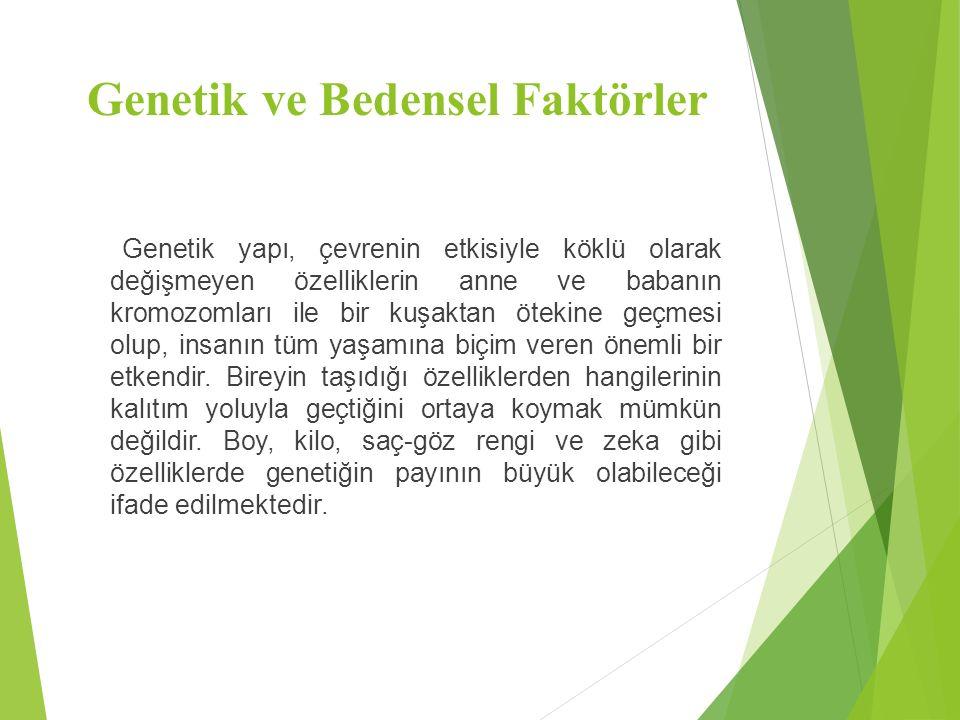 Genetik ve Bedensel Faktörler Genetik yapı, çevrenin etkisiyle köklü olarak değişmeyen özelliklerin anne ve babanın kromozomları ile bir kuşaktan ötek