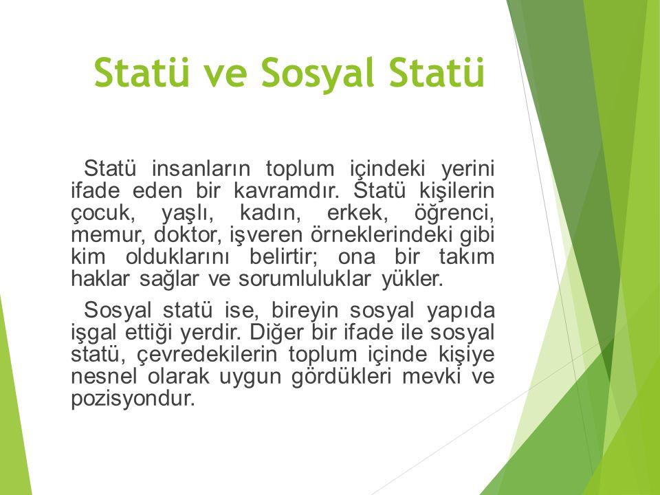 Statü ve Sosyal Statü Statü insanların toplum içindeki yerini ifade eden bir kavramdır.