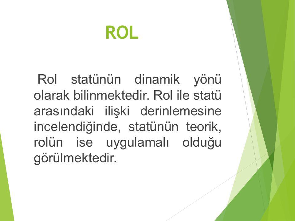 ROL Rol statünün dinamik yönü olarak bilinmektedir. Rol ile statü arasındaki ilişki derinlemesine incelendiğinde, statünün teorik, rolün ise uygulamal