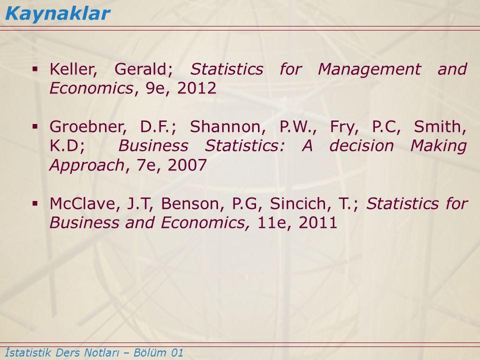  Keller, Gerald; Statistics for Management and Economics, 9e, 2012  Groebner, D.F.; Shannon, P.W., Fry, P.C, Smith, K.D; Business Statistics: A deci